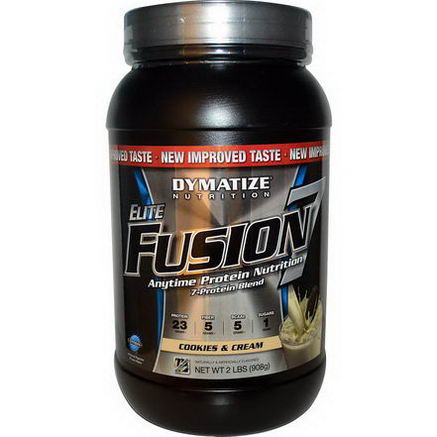 Dymatize Nutrition, Elite Fusion 7, Anytime Protection Nutrition, Cookies & Cream, 2 lbs (908g)