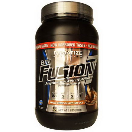 Dymatize Nutrition, Elite Fusion 7, Anytime Protein Nutrition, Rich Chocolate Shake, 2 lbs (908g)