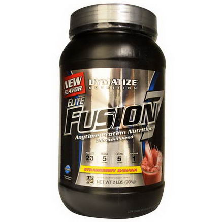 Dymatize Nutrition, Elite Fusion 7, Anytime Protein Nutrition, Strawberry Banana, 2 lbs (908g)