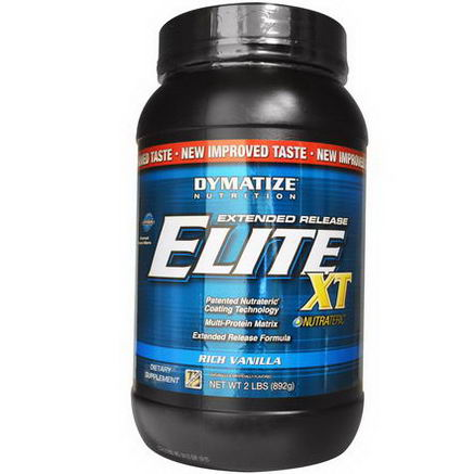Dymatize Nutrition, Elite XT, Extended Release Multi-Protein Matrix, Rich Vanilla, 2 lbs (892g)