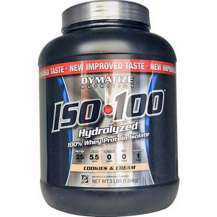 Dymatize Nutrition, ISO100 Hydrolyzed 100% Whey Protein Isolate, Cookies & Cream, 3 lbs (1, 346g)