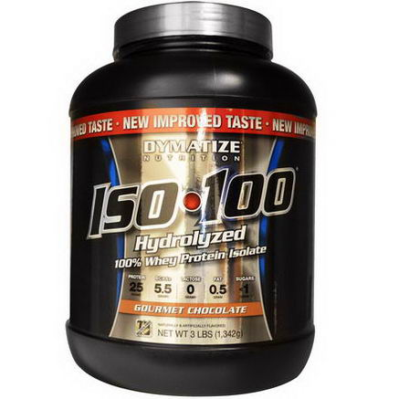 Dymatize Nutrition, ISO100 Hydrolyzed, 100% Whey Protein Isolate, Gourmet Chocolate, 3 lbs (1, 342g)