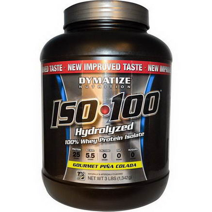 Dymatize Nutrition, ISO100 Hydrolyzed 100% Whey Protein Isolate, Gourmet Pina Colada, 3 lbs (1, 342g)