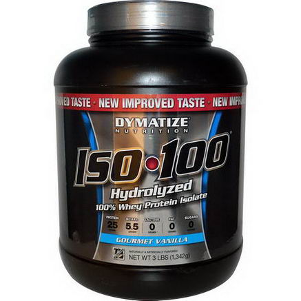 Dymatize Nutrition, ISO100, Hydrolyzed 100% Whey Protein Isolate, Gourmet Vanilla, 3 lbs (1, 342g)