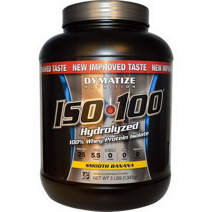 Dymatize Nutrition, ISO100 Hydrolyzed 100% Whey Protein Isolate, Smooth Banana, 3 lbs (1, 343g)