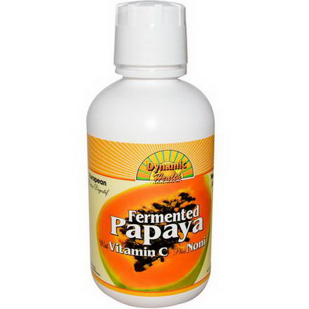 Dynamic Health Laboratories, Fermented Papaya, With Vitamin C Plus Noni, Alcohol-Free, 16 fl oz (473 ml)