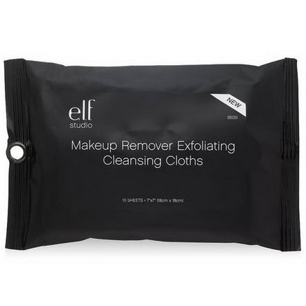 E.L.F. Cosmetics, Makeup Remover Exfoliating Cleansing Cloths, 10 Sheets, 7