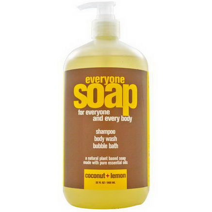EO Products, Everyone Soap, Shampoo, Body Wash and Bubble Bath, Coconut + Lemon, 32 fl oz (960 ml)