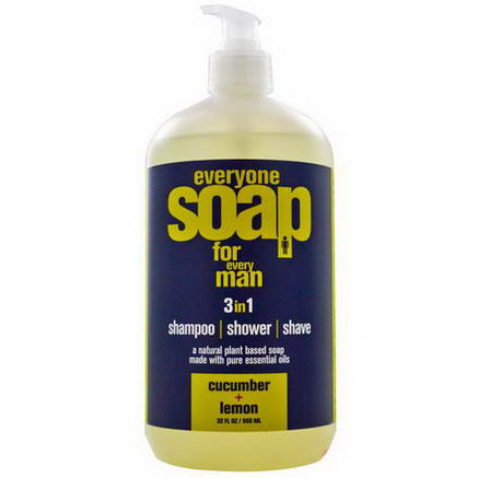 EO Products, Everyone Soap for Man, 3 in 1, Shampoo, Shower, Shave, Cucumber + Lemon, 32 fl oz (960 ml)