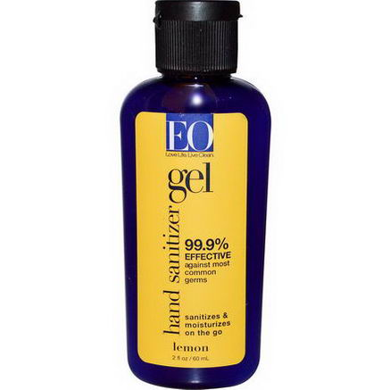 EO Products, Hand Sanitizer Gel, Lemon, 2 fl oz (60 ml)