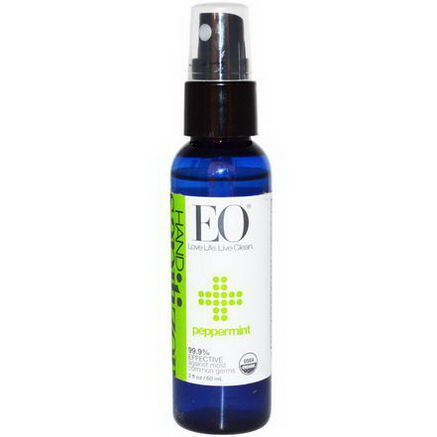 EO Products, Hand Sanitizer Spray, Peppermint, 2 fl oz (60 ml)