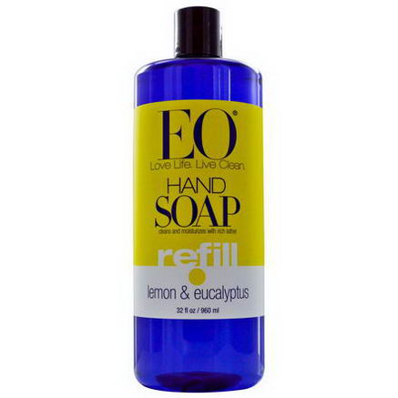 EO Products, Hand Soap, Lemon & Eucalyptus, Refill, 32 fl oz (960 ml)