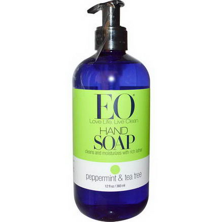 EO Products, Hand Soap, Peppermint & Tea Tree, 12 fl oz (360 ml)