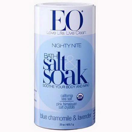 EO Products, Nightly Nite, Bath Salt & Soak, Blue Chamomile & Lavender, 22oz (623.7g)