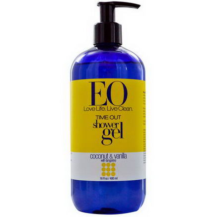 EO Products, Time Out Shower Gel, Coconut & Vanilla with Tangerine, 16 fl oz (480 ml)
