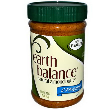 Earth Balance, Natural Almond Butter with Flaxseed, Creamy, 1 lb (453g)