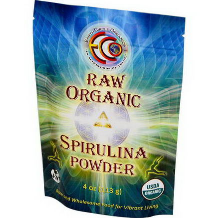 Earth Circle Organics, Spirulina Powder, Raw, Organic, 4oz (113g)
