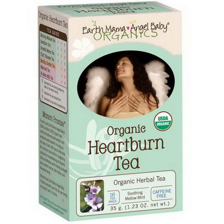 Earth Mama Angel Baby, Organic Heartburn Tea, Soothing Mellow Mint, Caffeine Free, 16 Tea Bags, 1.23oz (35g)