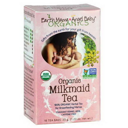 Earth Mama Angel Baby, Organic Milkmaid Tea, Fragrant Fennel Herb, Caffeine Free, 16 Tea Bags, 1.23oz (35g)