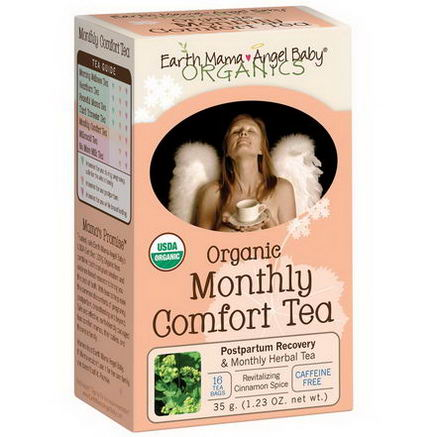 Earth Mama Angel Baby, Organic, Monthly Comfort Tea, Revitalizing Cinnamon Spice, Caffeine Free, 16 Tea Bags, 1.23oz (35g)