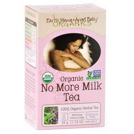 Earth Mama Angel Baby, Organic No More Milk Tea, Refreshing Hibiscus Sage, 16 Tea Bags, 1.23oz (35g)
