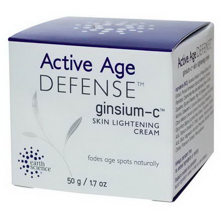 Earth Science, Active Age Defense, Ginsium-C, Skin Lightening Cream, 1.7oz (50g)