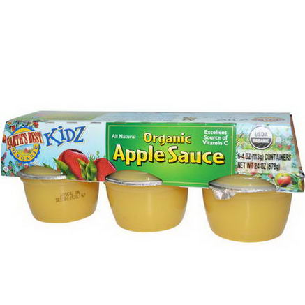 Earth's Best, Kidz, Organic Apple Sauce, 6 Containers, 4oz (113g) Each