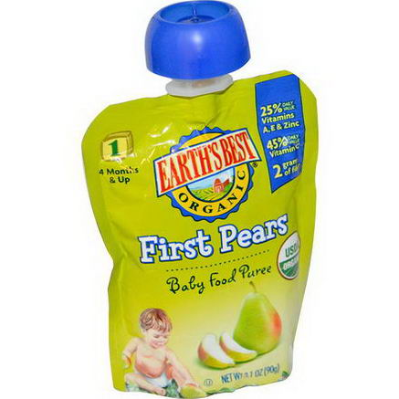 Earth's Best, Organic, Baby Food Puree, First Pears, 3.1oz (90g)