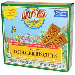 Earth's Best, Organic Barley Toddler Biscuits, 12 Biscuits (6 Packages of 2)