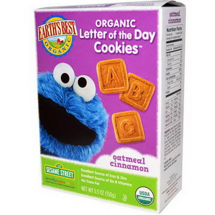 Earth's Best, Organic Letter of the Day Cookies, Oatmeal Cinnamon, 5.3oz (150g)