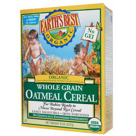 Earth's Best, Organic Whole Grain Oatmeal Cereal, 8oz (227g)