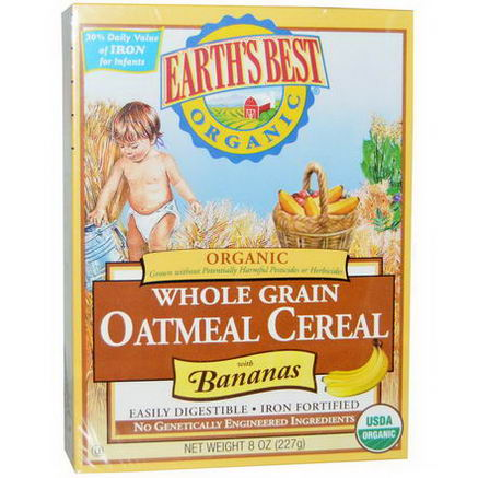 Earth's Best, Organic Whole Grain Oatmeal Cereal with Bananas, 8oz (227g)