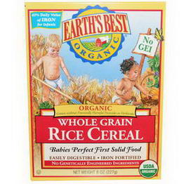 Earth's Best, Organic Whole Grain Rice Cereal, 8oz (227g)