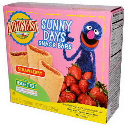 Earth's Best, Sunny Days Snack Bars, Strawberry, 8 Bars, 0.67oz (19g) Each