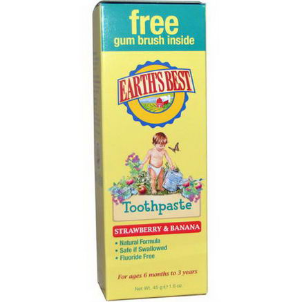 Earth's Best, Toothpaste, Strawberry & Banana, 1.6oz (45g)