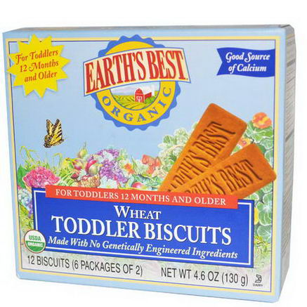 Earth's Best, Wheat Toddler Biscuits, 12 Biscuits, 4.6oz (130g)