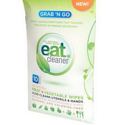 Eat Cleaner, Grab 'N Go, Fruit + Vegetable Wipes, Alcohol Free, 10 Wipes