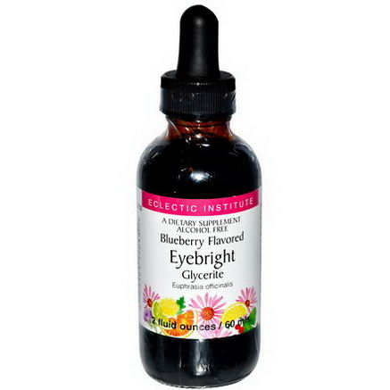 Eclectic Institute, Eyebright Glycerite, Alcohol Free, Blueberry Flavored, 2 fl oz (60 ml)