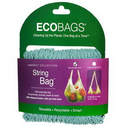 Eco-Bags Products, Market Collection, String Bag, Tote Handle 10 in, Washed Blue, 1 Bag