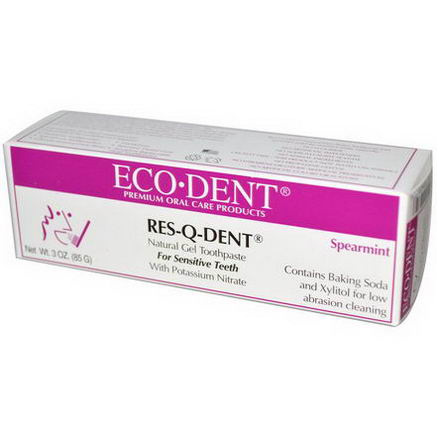 Eco-Dent, Res-Q-Dent, Natural Gel Toothpaste, Spearmint, 3oz (85g)