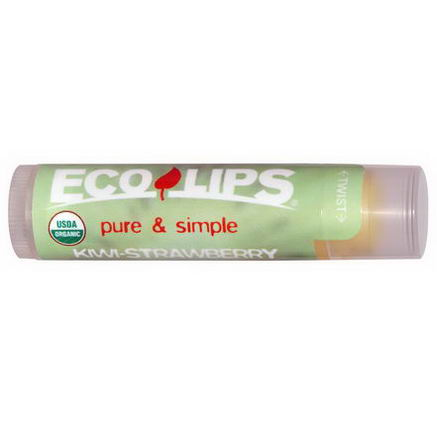 Eco Lips Inc, Pure & Simple Lip Balm, Kiwi Strawberry, 0.15oz (4.25g)