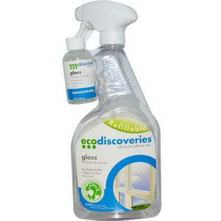 EcoDiscoveries, Glass Cleaner, Window & Mirrors, 2 fl oz (60 ml) Concentrate w/ 1 Spray Bottle