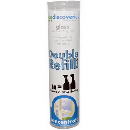 EcoDiscoveries, Glass, Windows & Mirrors, Concentrate Refills, 2 Pack, 2oz Each