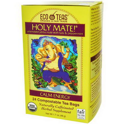 EcoTeas, Holy Mate, Calm Energy, Unsmoked Yerba Mate With Tulsi & Peppermint, 24 Tea Bags, 1.7oz (48g)