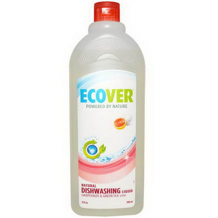 Ecover, Natural Dishwashing Liquid, Grapefruit & Green Tea Scent, 32 fl oz (946 ml)