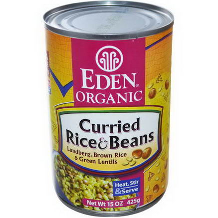 Eden Foods, Organic, Curried Rice & Beans, Lundberg Brown Rice and Green Lentils, 15oz (425g)