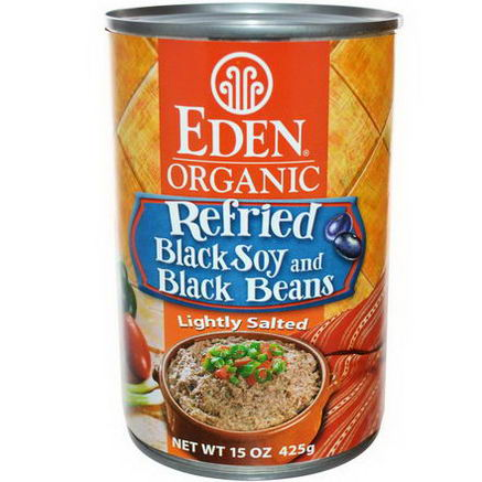 Eden Foods, Organic Refried Black Soy and Black Beans, 15oz (425g)