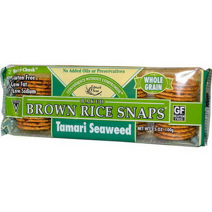 Edward & Sons, Baked Brown Rice Snaps, Tamari Seaweed, 3.5oz (100g)