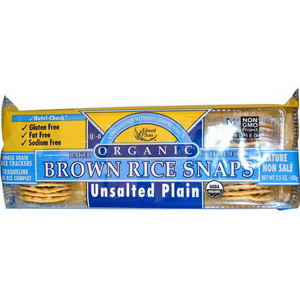 Edward & Sons, Organic Baked Brown Rice Snaps, Unsalted Plain, 3.5oz (100g)