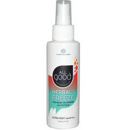 Elemental Herbs, All Good, Herbal Freeze, Pain Relief Spray, with Arnica, 4 fl oz (118 ml)